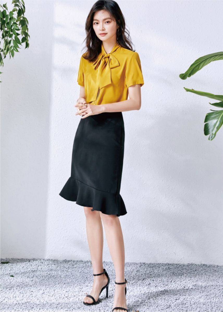 Yellow color Tees & Shirts . Women's Solid Color Commute Short Sleeve Shirt -
