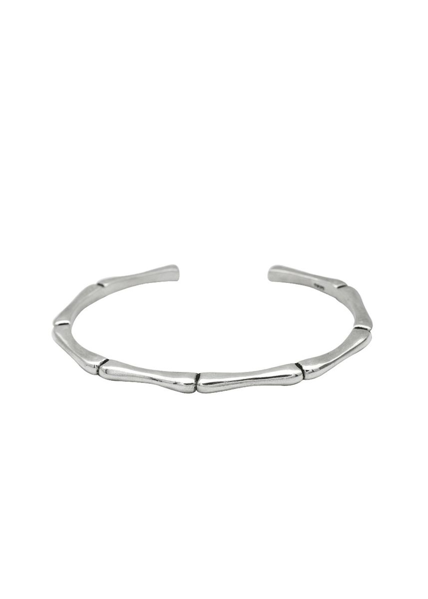 Silver color  . Unisex Bamboo Sterling Silver Open Bangle  -