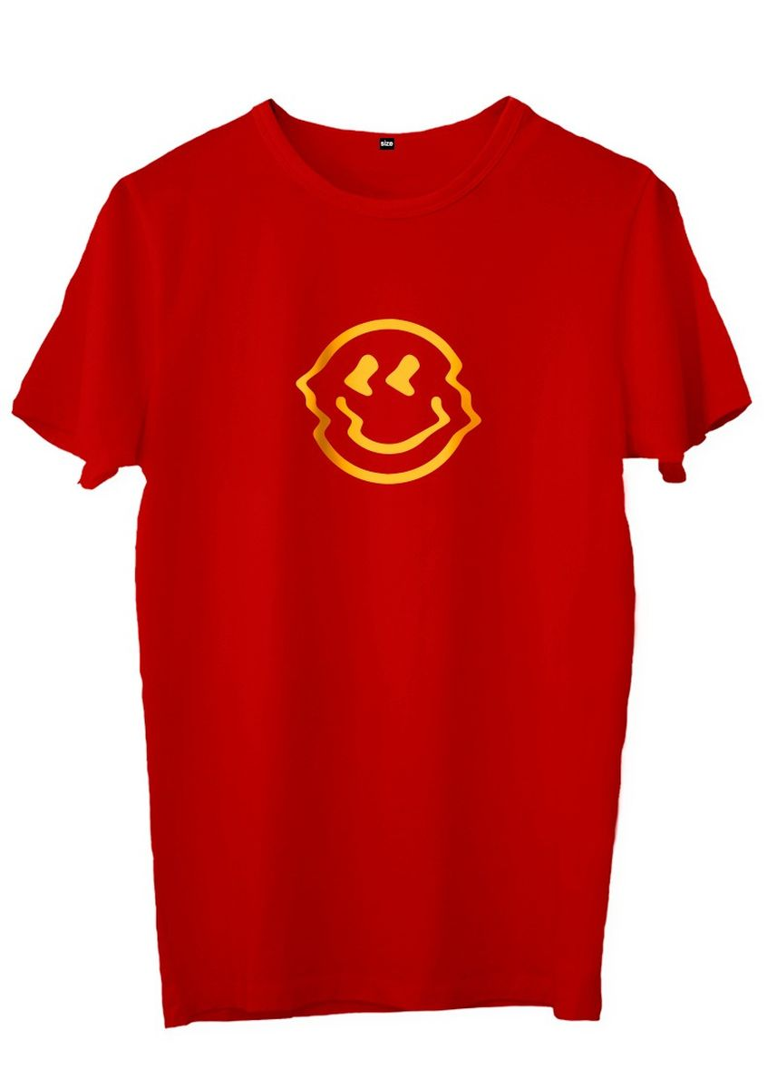 Red color T-Shirts and Polos . JESNIG.ID -KAOS BE HAPPY -