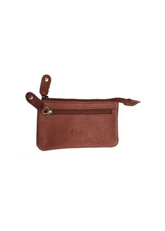 Brown color Wallets and Clutches . Oxhide Leather Coin Purse with 2 Zippers -