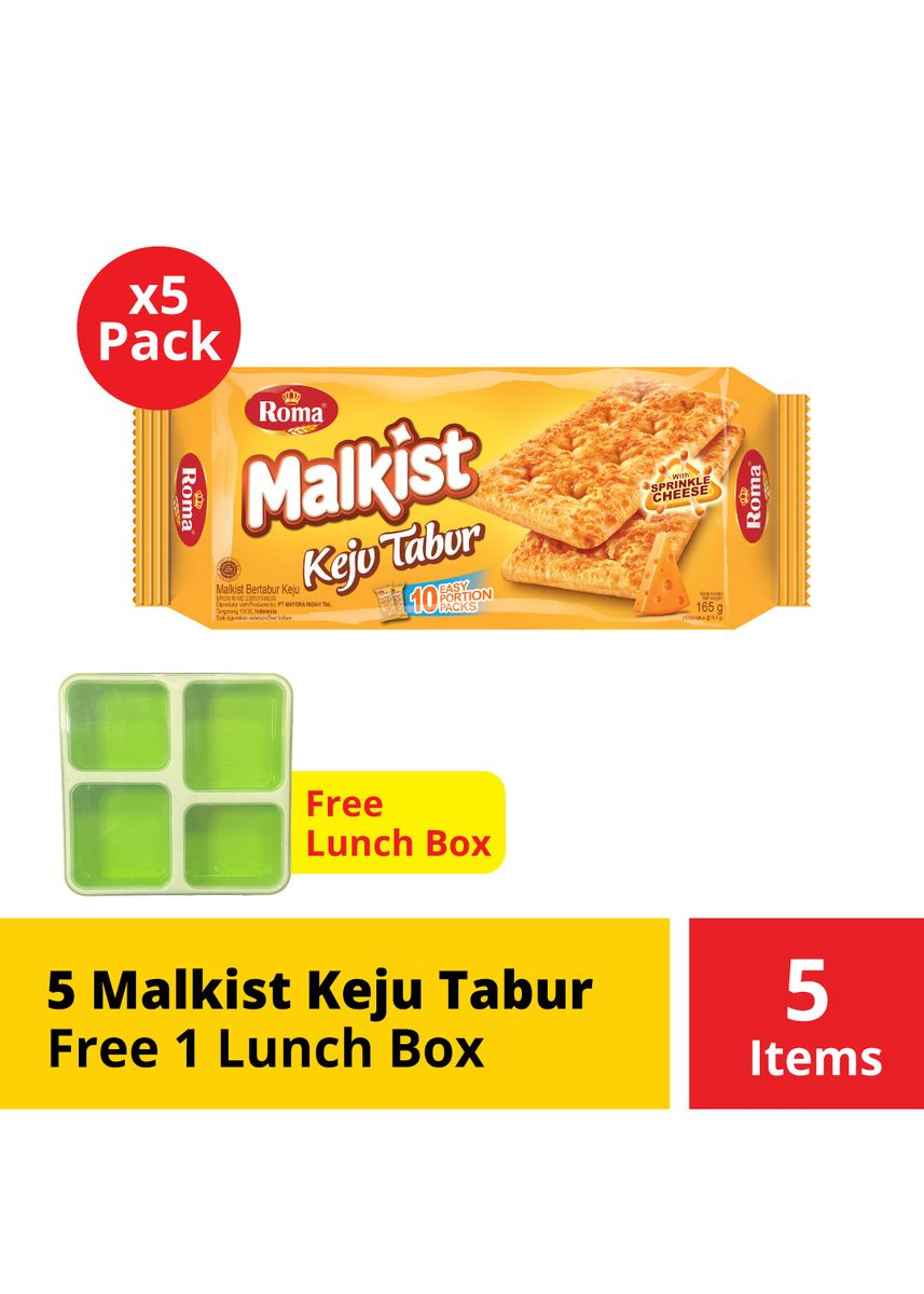No Color color Snacks . 5 Malkist Keju Tabur Free Lunch Box -