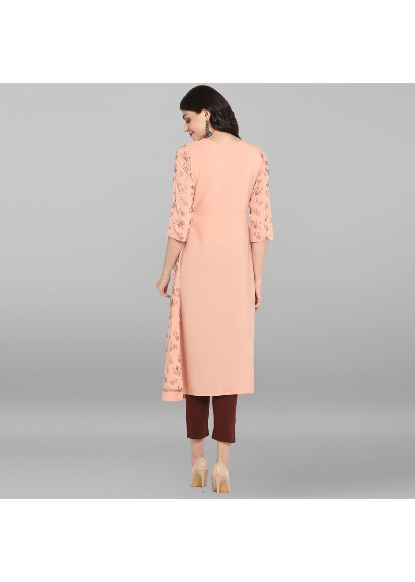 Pink color Dresses . Janasya Women's Light Pink Poly Crepe Kurta -
