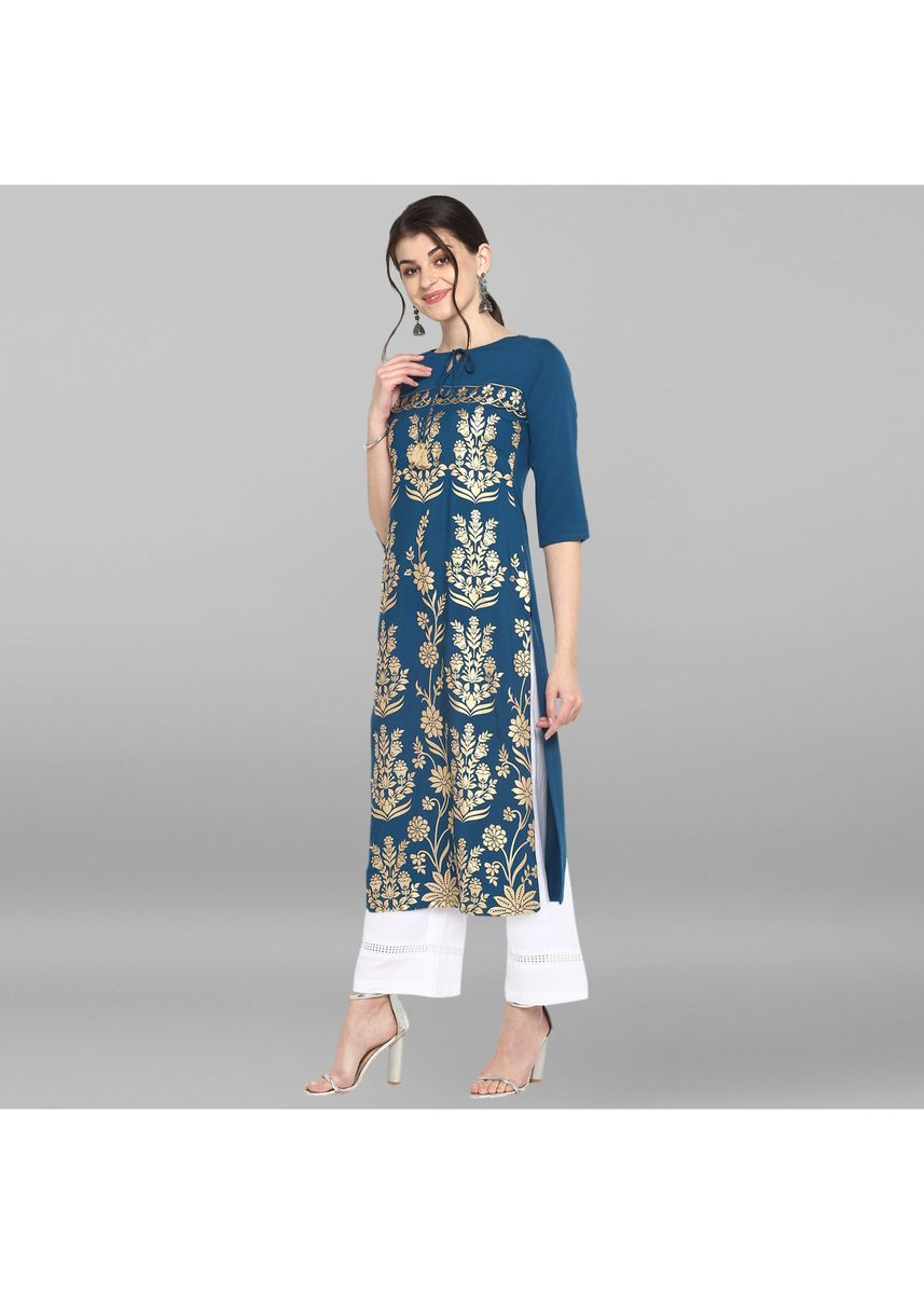 Blue color Dresses . Janasya Women's Turquoise Blue Poly Crepe Kurta -