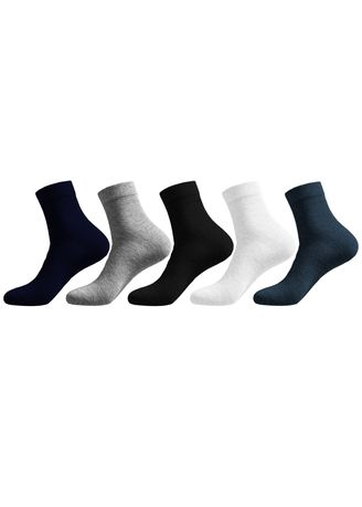 Multi color Socks . IDENTITY Men's 5-in-1 Crew Length Cotton Socks -