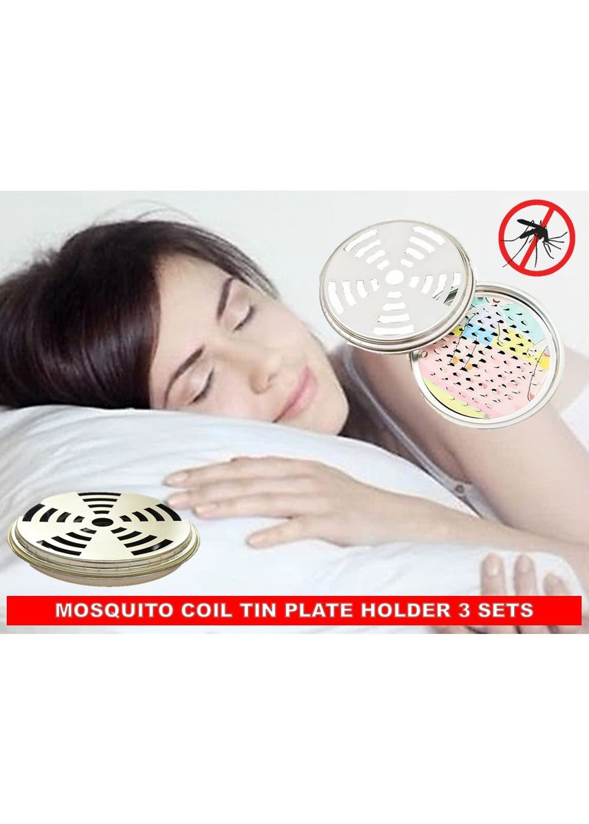 No Color color Camping & Hiking . Mosquito Coil Tin Plate Holder 3 Sets - Free Magic Cleaning Sponge -