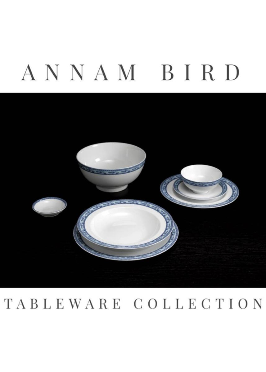 White color Kitchen . Annam Bird - Deep Soup Plate (23cm) -