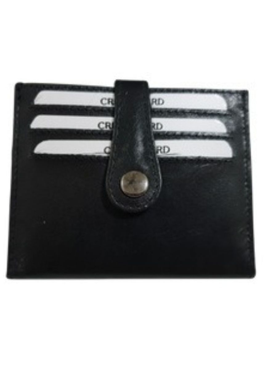 Black color Other . Bi-fold Leather Card Holder with Button -
