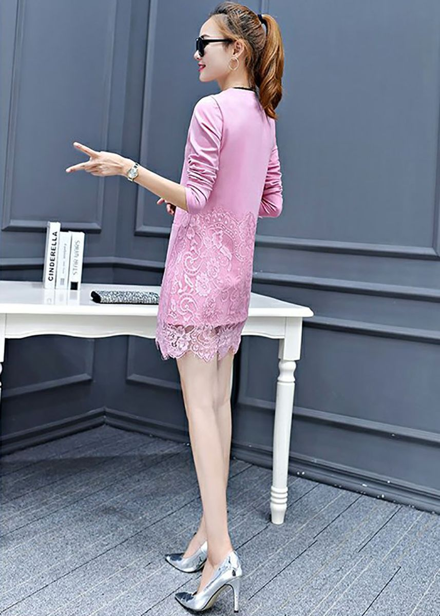 Pink color Plus Size Fashion . Lace Stitching Mid-length Long-sleeved Fashion Dress -