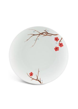 White color Kitchen . Pink Ochna - Flat Round Plate (26cm) -