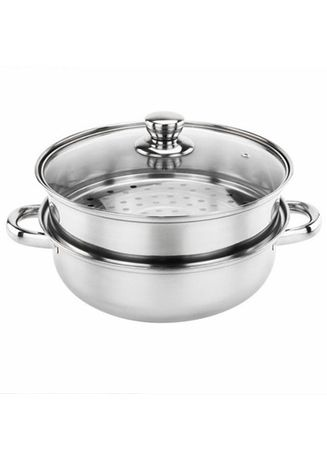 Silver color Kitchen . Celina Home Textiles 2 Layer Steamer & Cooking Pot -
