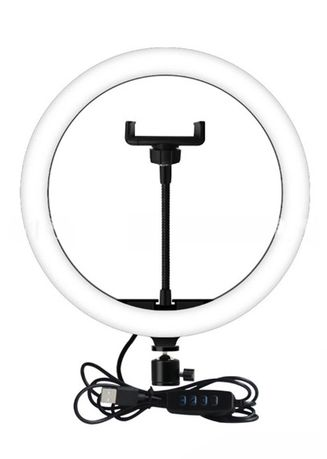 White color Home Decor . Celina Home Textiles LED Video Ring Light with Tripod Stand for Live Streaming (26 cm) AS521 -