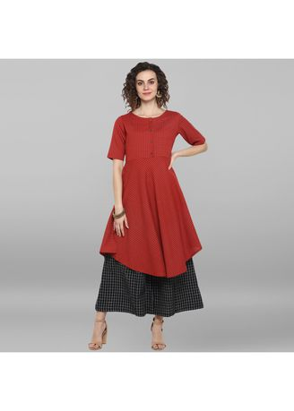 Red color Dresses . Janasya Women's Red Cotton Flex Kurta -