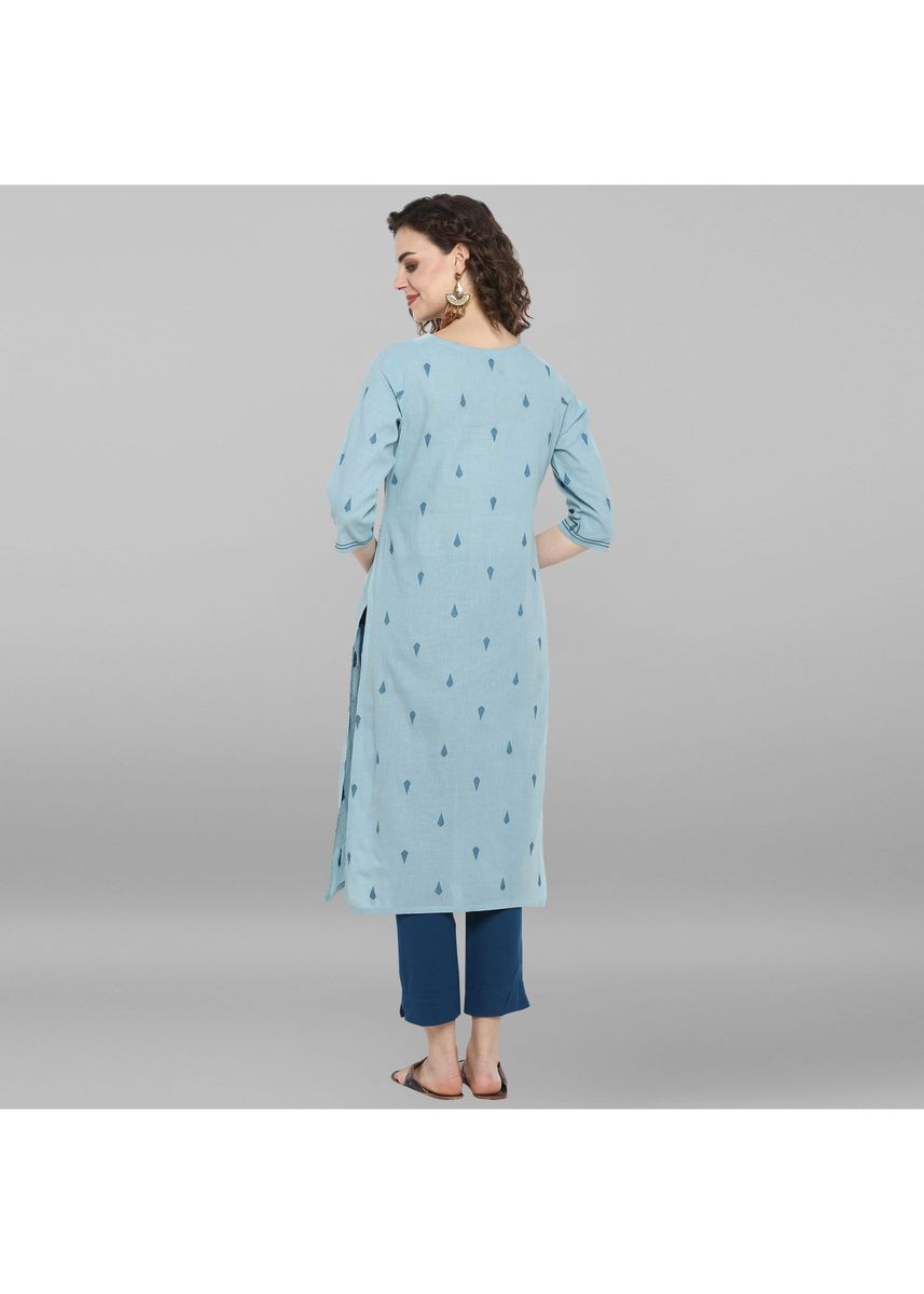 Blue color Dresses . Janasya Women's Sky Blue Weaved Cotton Kurta -
