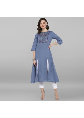 Blue color Dresses . Janasya Women's Light Blue Rayon Flex Kurta -