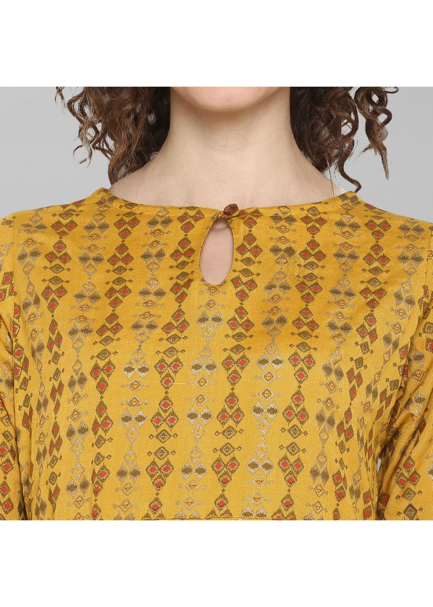 Yellow color Dresses . Janasya Women's Mustard Cotton Flex Ethnic Dress -