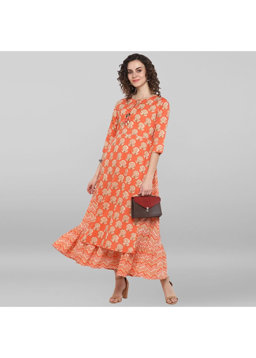 Pink color Dresses . Janasya Women's Peach Pure Cotton Ethnic Dress -