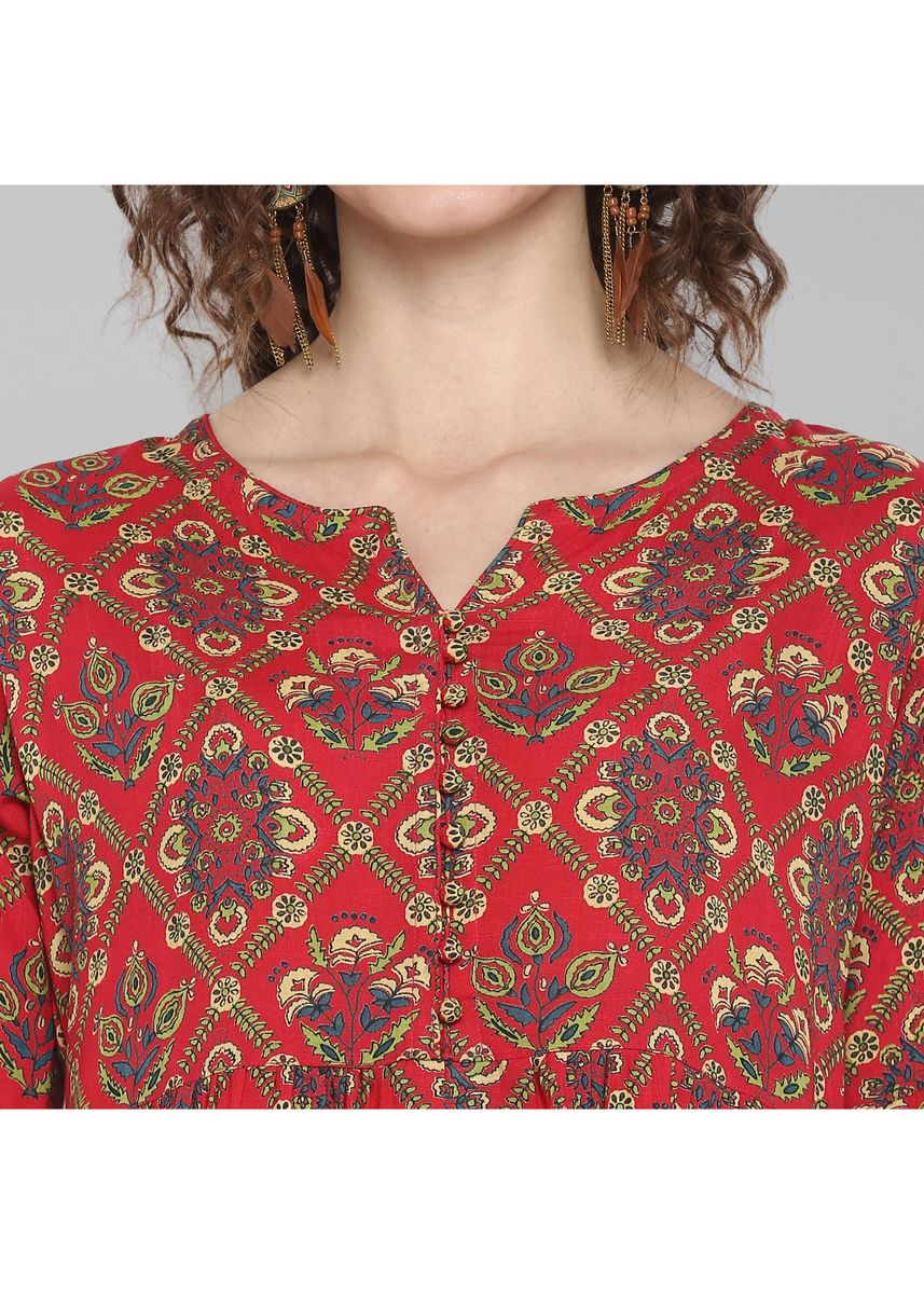 Red color Tops and Tunics . Janasya Women's Red Rayon Top -