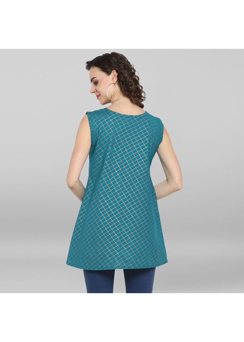 Blue color Tops and Tunics . Janasya Women's Turquoise Blue Pure Cotton Top -