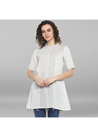 White color Tops and Tunics . Janasya Women's White Weaved Cotton/South Cotton Top -