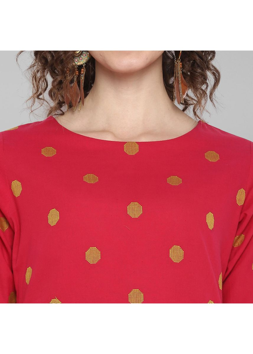 Pink color Tops and Tunics . Janasya Women's Pink Weaved Cotton Top -