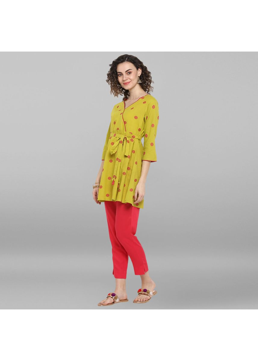 Green color Tops and Tunics . Janasya Women's Lime Green Weaved Cotton/South Cotton Top -