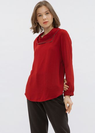 Red color Tops and Tunics . Minimal Overlap Collar Top Luxe -