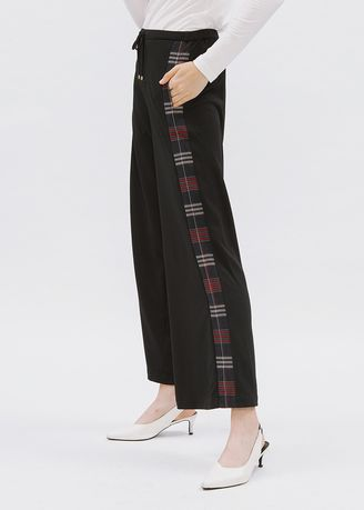 Trousers . Minimal Palazzo With Checks Jet Black -