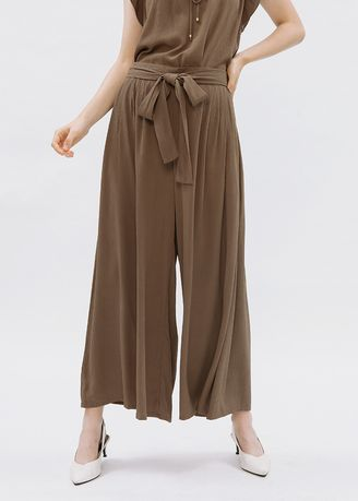Olive color Trousers . Minimal Wide Palazzo Dark Olive -