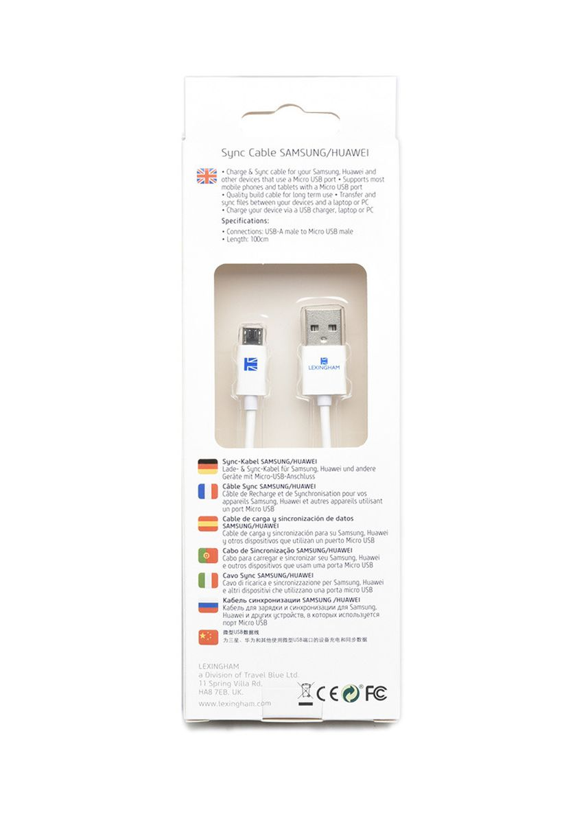 White color Travel Accessories . Lexingham Micro USB Sync & Charge Cable -