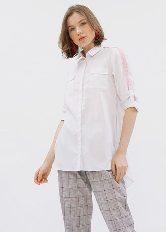 White color Tops and Tunics . Minimal Shirt With Contrast Band -
