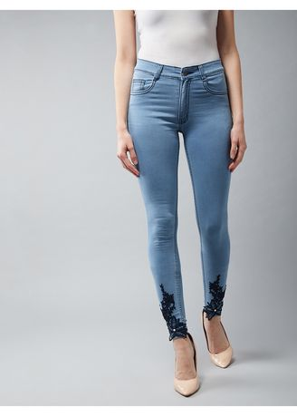 Light Blue color Jeans . Dolce Crudo Here I Go Skinny Midrise Jeans -