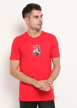 Red color T-Shirts and Polos . RBJ Kaos Katun Combed Pria -