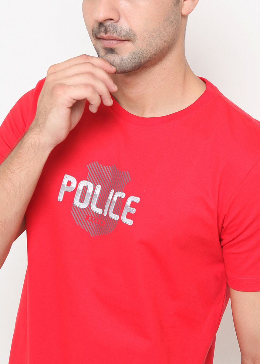Red color T-Shirts and Polos . POLICE Kaos Katun Combed Pria  -