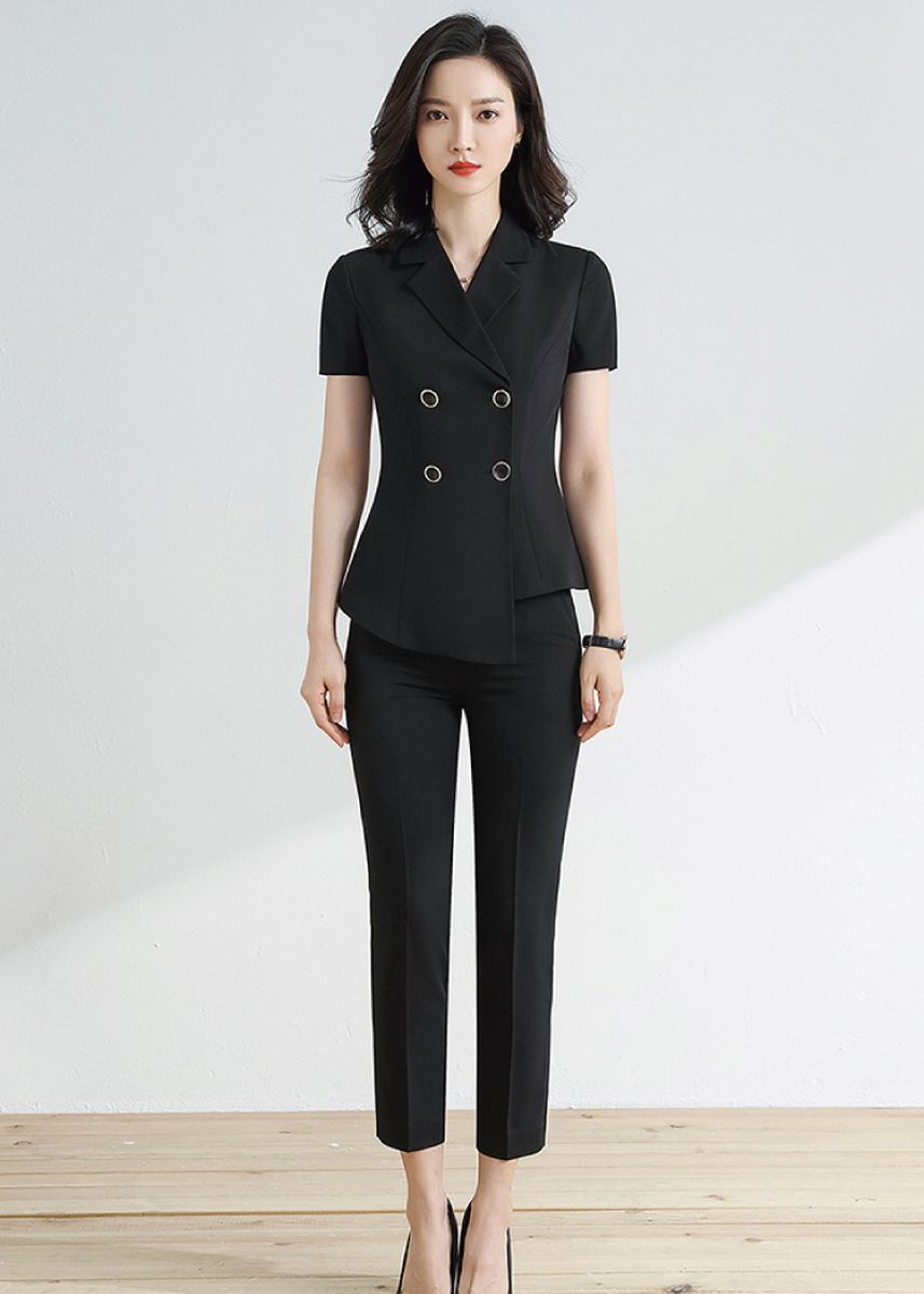 Black color Tops and Tunics . Ladies Black Short Sleeve Suit and Pants Suit -