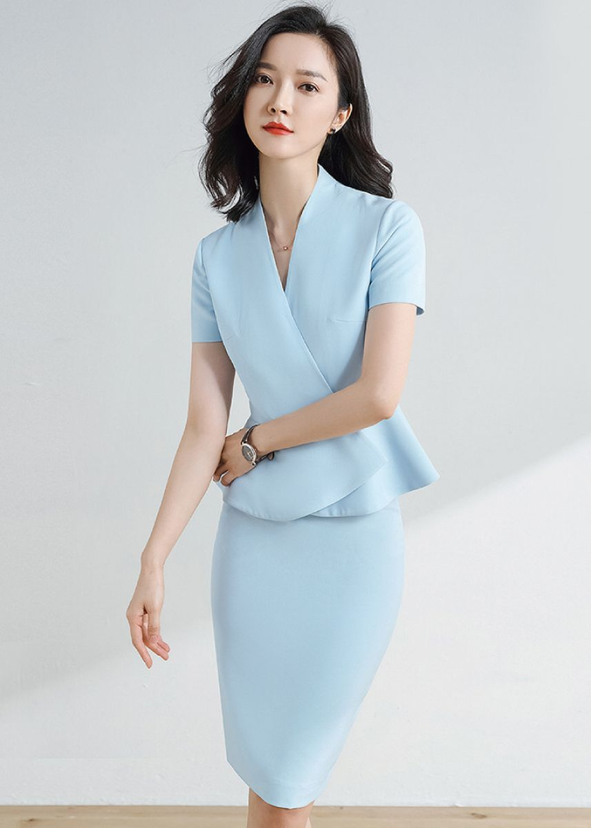 Cyan color Tops and Tunics . Ladies Thin Commuter Blazer and Skirt Suit -