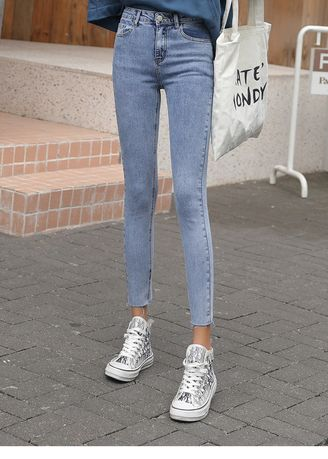 Blue color Jeans . Tall Waist Tight Nine Points Stretch Feet Pants -