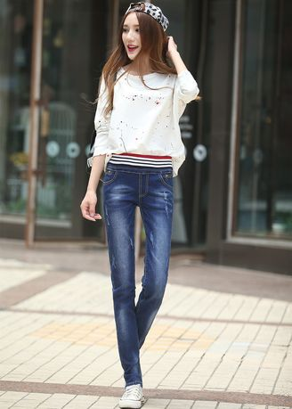 Blue color Jeans . Female Loose Show Thin Elastic Waist Straight Jeans -