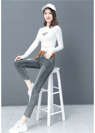 Grey color Jeans . Han Edition Loose Fashion Show Thin Straight Trousers -