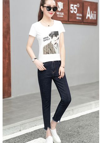 Blue color Jeans . One's Morality Show Thin Foot Trousers -
