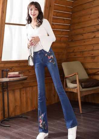 Blue color Jeans . New Embroidery Embroidery Flared Trousers -