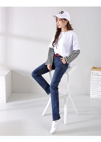 Blue color Jeans . Spring New Show Tall Waist Loose Pant -