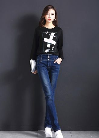 Blue color Jeans . Thin Tall Waist Straight Cowboy Wind Han Edition Jean -