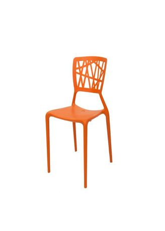 Orange color Chairs . Plastic Bamboo Design Chair -
