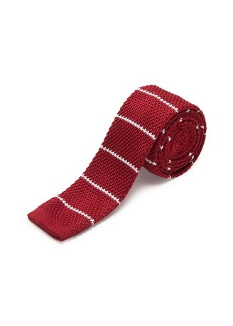 Red color Ties . IDENTITY Men's Novelty Slim Hand Knitted Silk Casual Necktie -