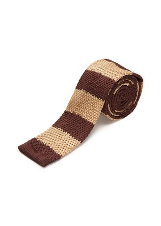 Brown color Ties . IDENTITY Men's Novelty Slim Hand Knitted Silk Casual Necktie -