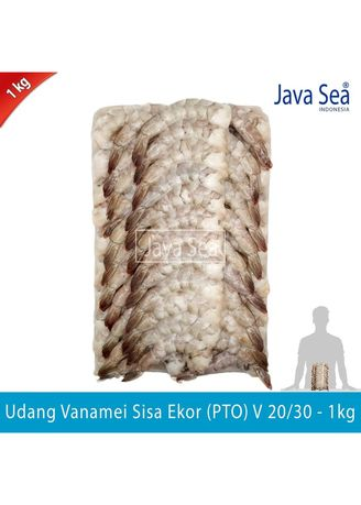 No Color color Canned Food . JAVA SEA Udang Vanamei Sisa Ekor Beku PTO V 20/30 pack 1kg -