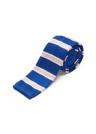 Blue color Ties . IDENTITY Men's Novelty Slim Hand Knitted Silk Casual Necktie -