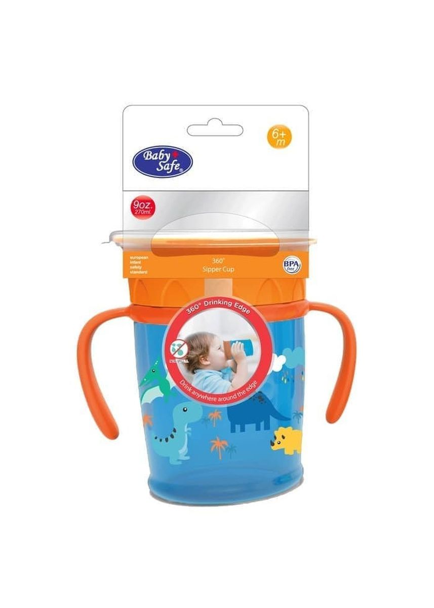 Blue color Sipper & Mugs . Baby Safe AP013 360° Sipper Cup With Handle Gelas minum bayi anak - Dino -