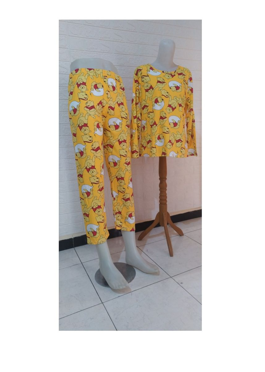 Yellow color Pyjamas . Piyama bahan kaos import -