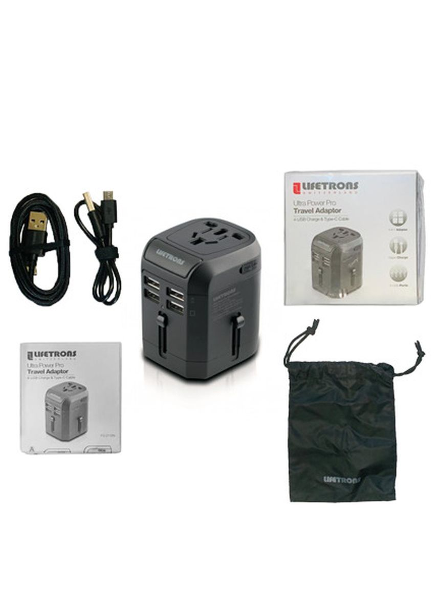 Black color Travel Accessories . Lifetrons Ultra Power Pro Travel Adaptor 4-USB Charge & Type C Cable (FG-2118N) -